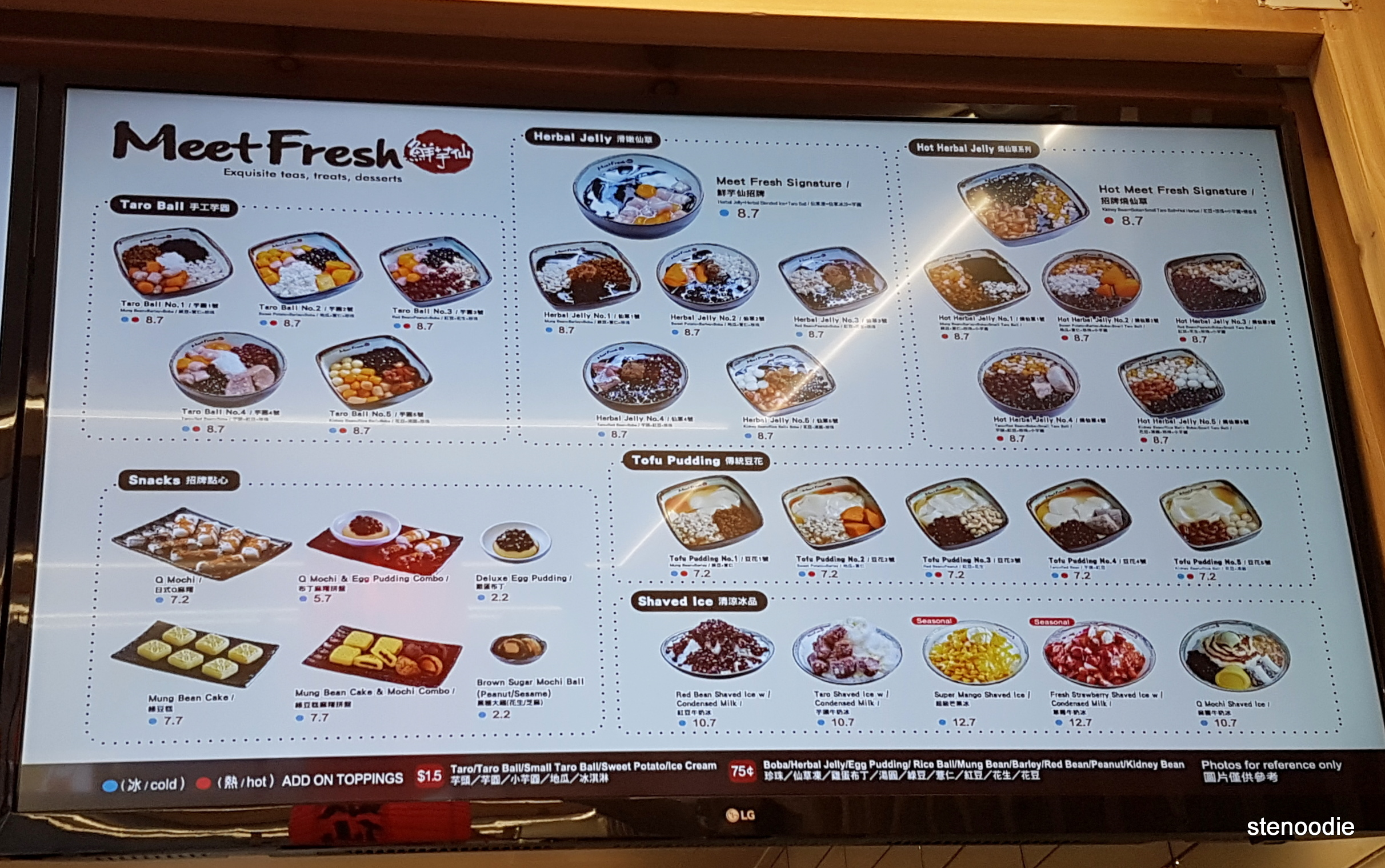 Meet Fresh menu and prices