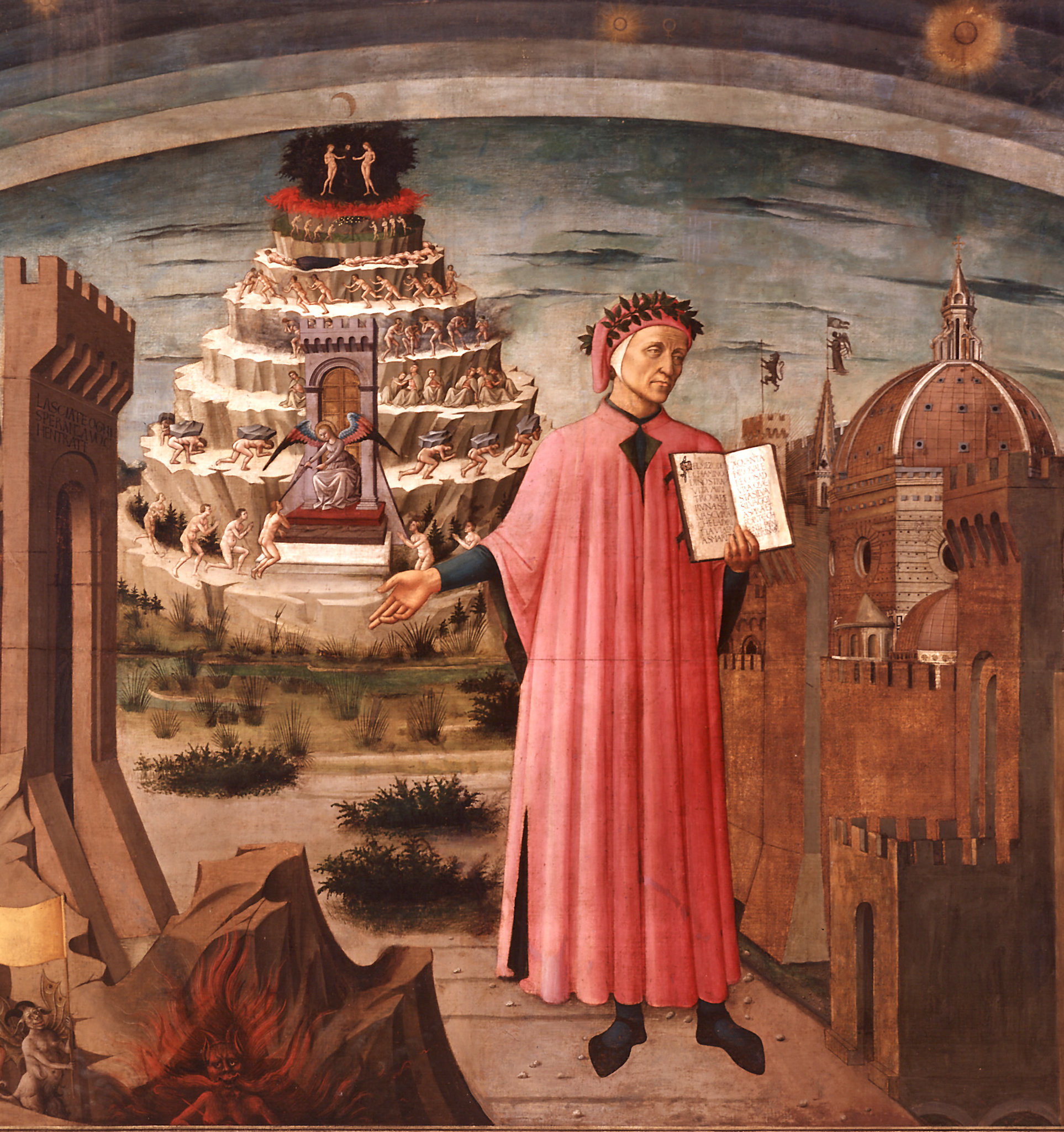 Dante, poised between the mountain of purgatory and the city of Florence, displays the incipit 'Nel mezzo del cammin di nostra vita' in Domenico di Michelino's painting, Florence, 1465.