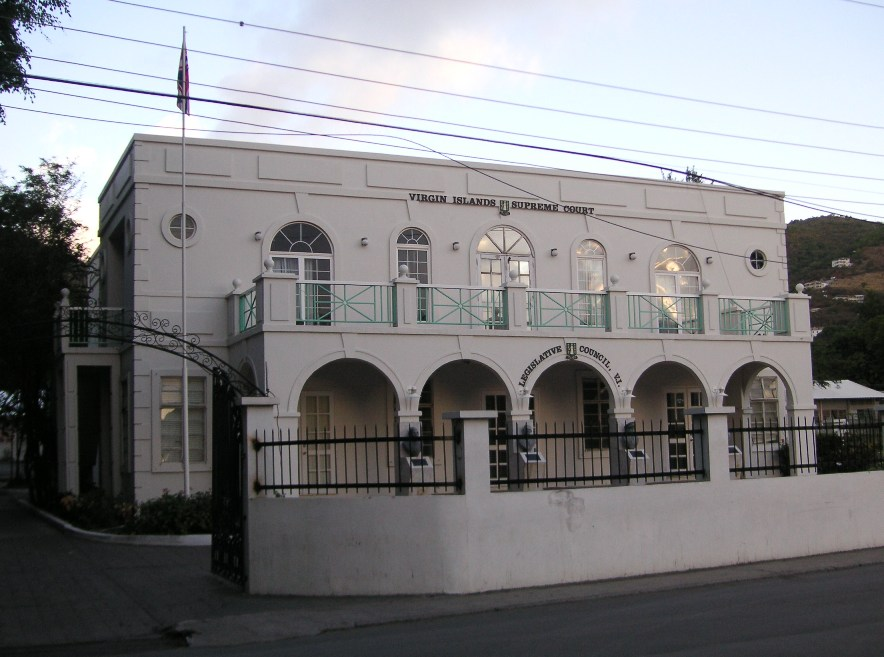The Legislative Council building in Road Town, erected about sixty yards from the market where Faulker roused the crowds. Photo taken on February 9, 2007.