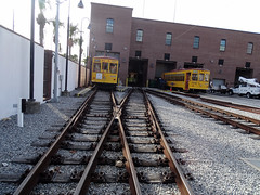 Tampa Bay Historical YBOR City (Hillsborough Area Regional Transit Authority) HART TECO Line Trolley Line Carhouse Area With Gomaco Replica Birney Trolley  Car 434 & 428