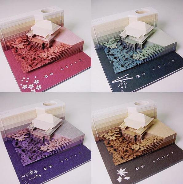 4 warna dari model Vihara Kiyomizu (Kiyomizu-dera) dari kertas.