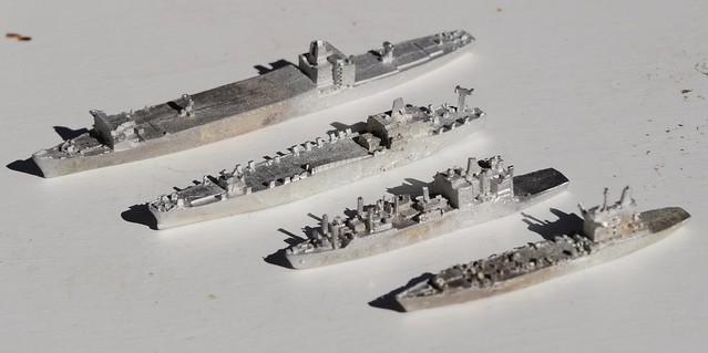 Four Viking Forge US Cargo/Supply/Oiler ships miniatures