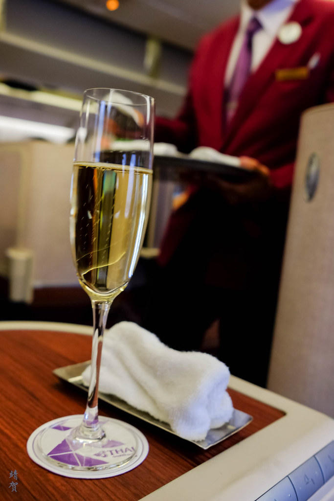 Champagne as pre-departure drink