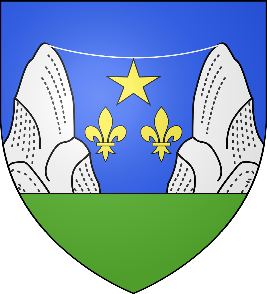 Coat of arms for Moustiers-Sainte-Marie, featruing the famous star