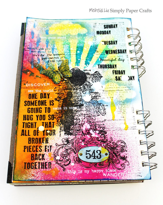 Meihsia Liu Simply Paper Crafts Mixed Media Art Journal Weather Simon Says Stamp Tim Holtz