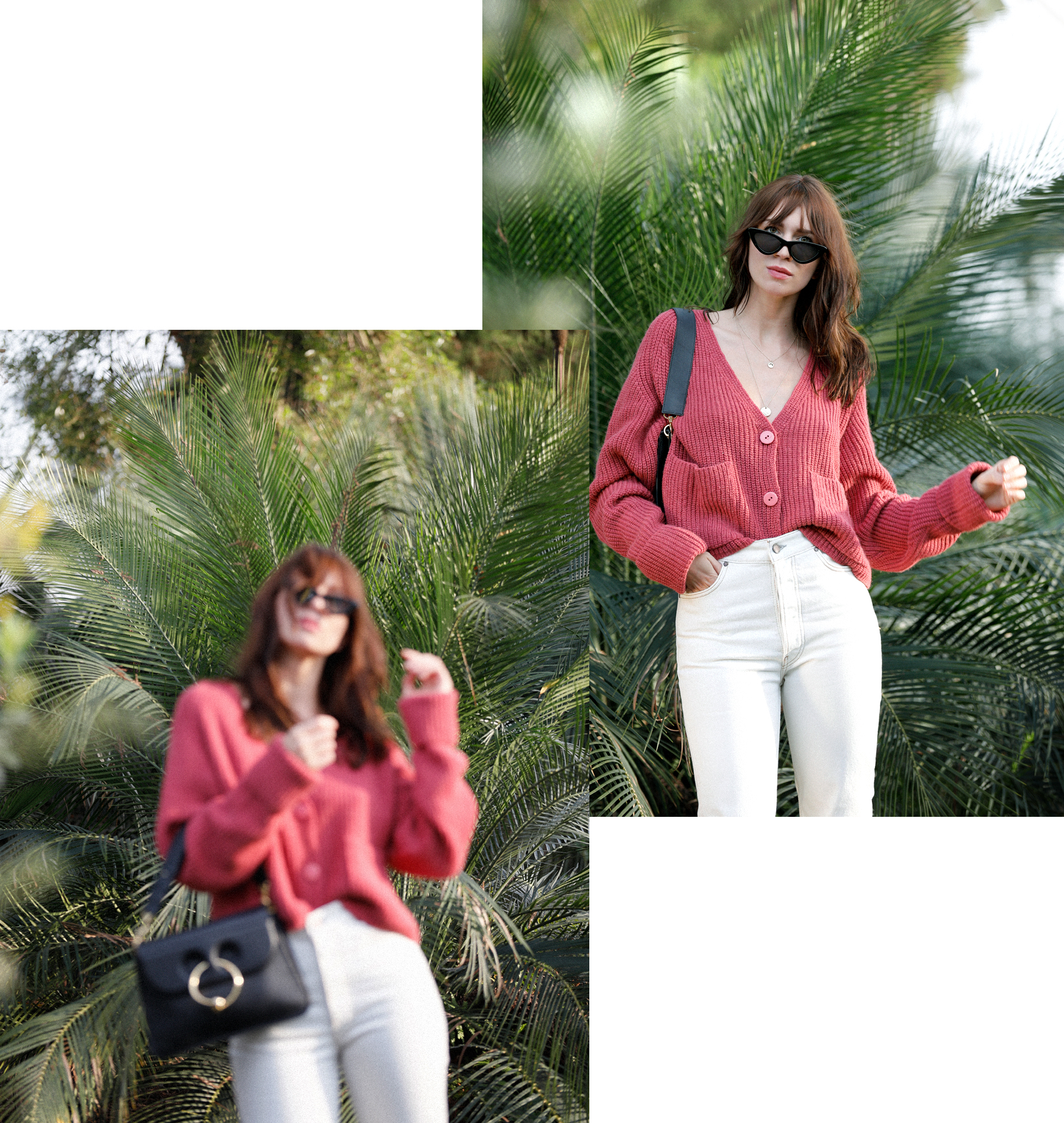 outfit palm trees holiday in winter garden summer spring red cardigan parisienne style pierce bag j.w. anderson white jeans flattered slippers cat-eye sunglasses last lolita le specs adam selman ricarda schernus catsanddogbslog modeblogger düsseldorf 2