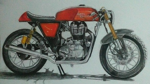 draw Royal enfield continental