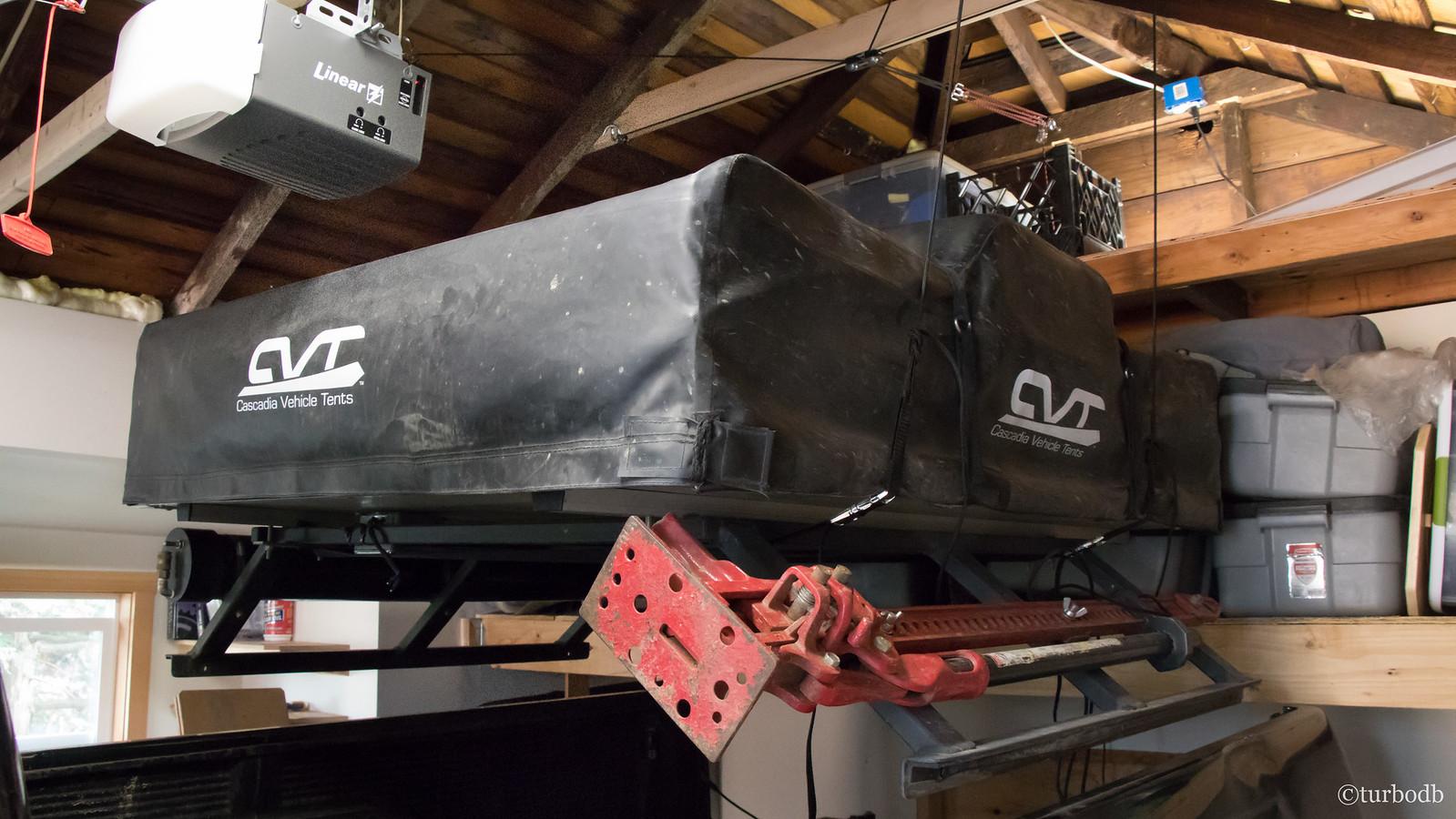 garage hoist for bed rack and tent