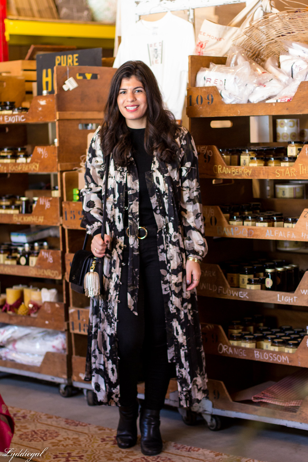 dark floral maxi dress as duster over black jeans, sweater and boots for winter-8.jpg