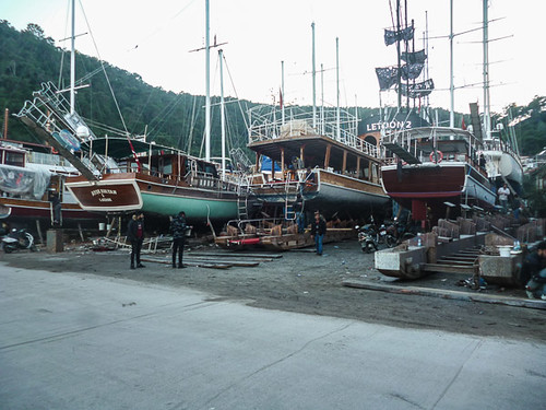 Wide view of the shipyards.