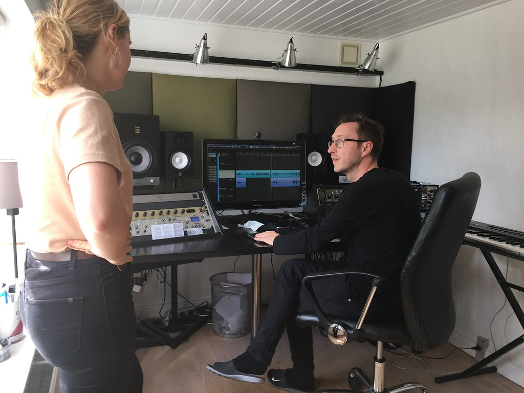 Christine and Jesper in studio finishing song