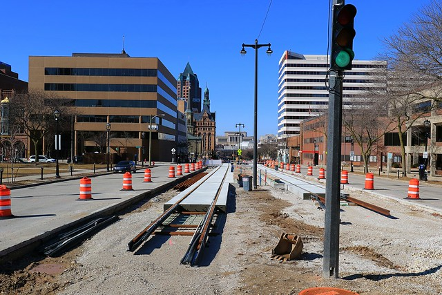 Streetcar track construction on Kilbourn Avenue at Cathedral Square