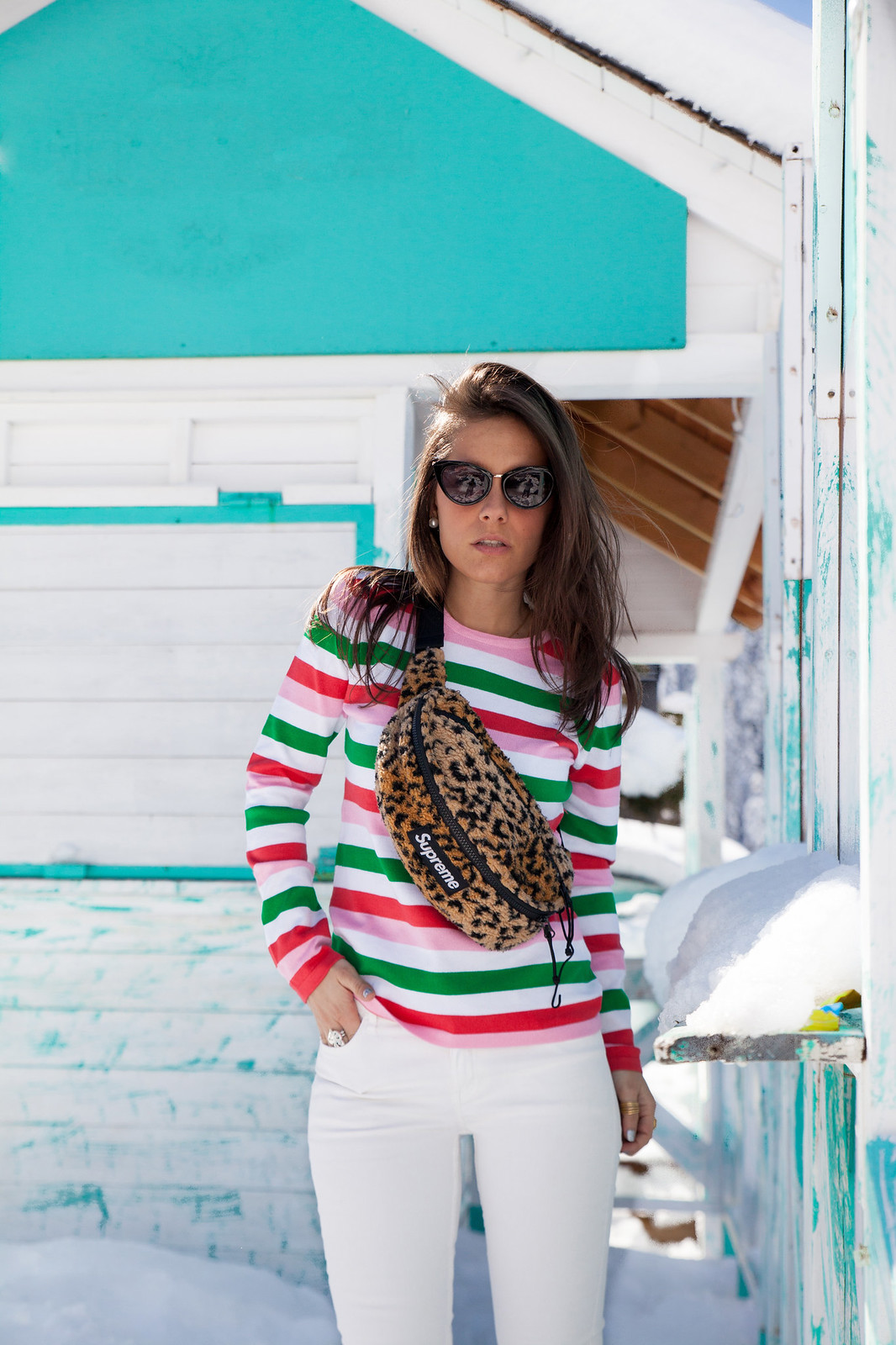 LOOK JERSEY RAYAS MULTICOLOR supreme theguestgirl leopard outfit supreme fashion blogger barcelona baquiera
