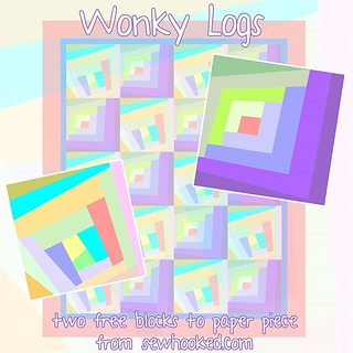 After an unintentional absence due to everything from travel to illness, #freepatternfriday is back with a refreshed version of two old favorites, Wonky Logs! Get them for free on sewhooked.com. #freepattern #paperpieced #paperpiecing