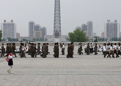 North Korean soldiers training in Kim il Sung square in front of the Juche tower, Pyongan Province, Pyongyang, North Korea