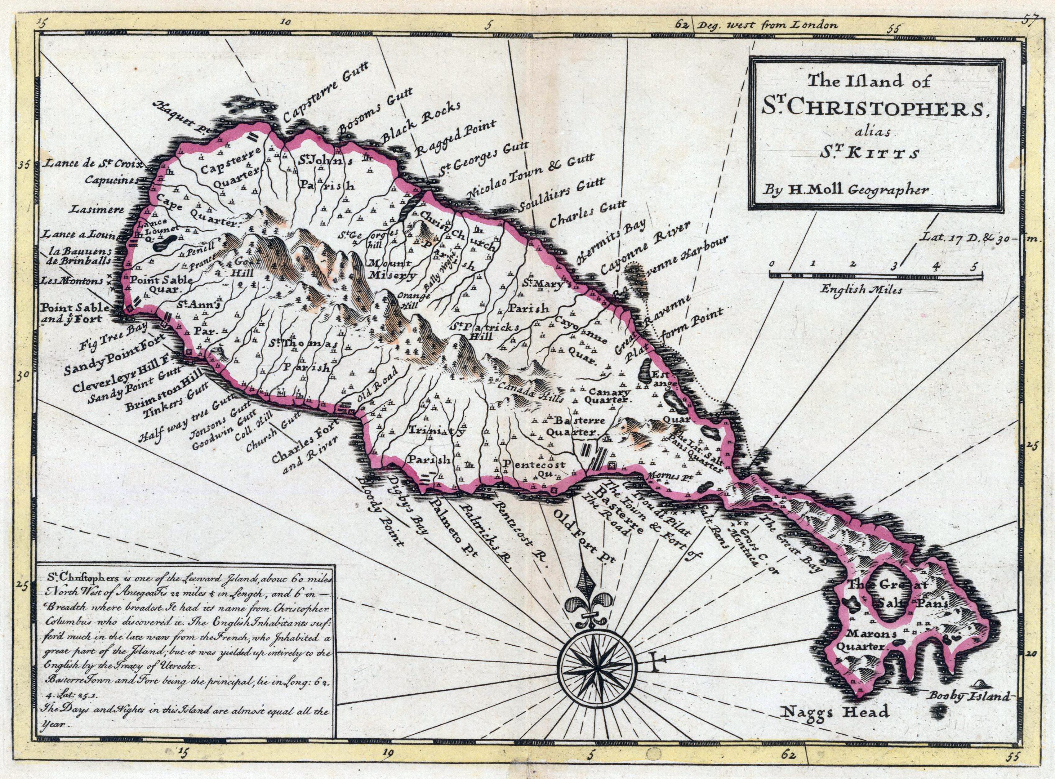 Map of Saint Christopher, 1736