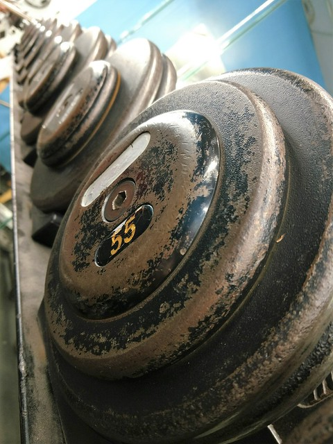 gym room steel weights and dumbells for physical activity