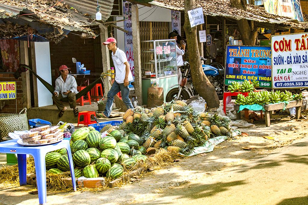 Watermelons, pineapples and bananas--Vinh Long