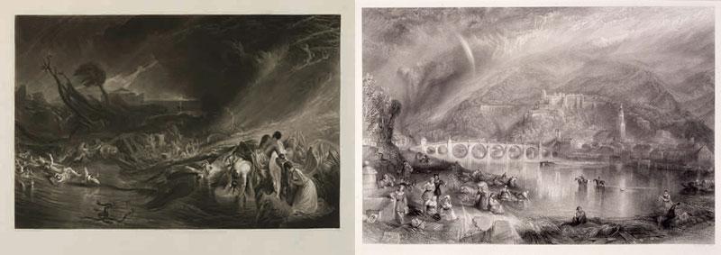 左)《ノアの大洪水》(1828年)(制作年不詳、郡山市立美術館) 右)《ネッカー川対岸から見たハイデルベルク》(1846年)(制作年不詳、郡山市立美術館)