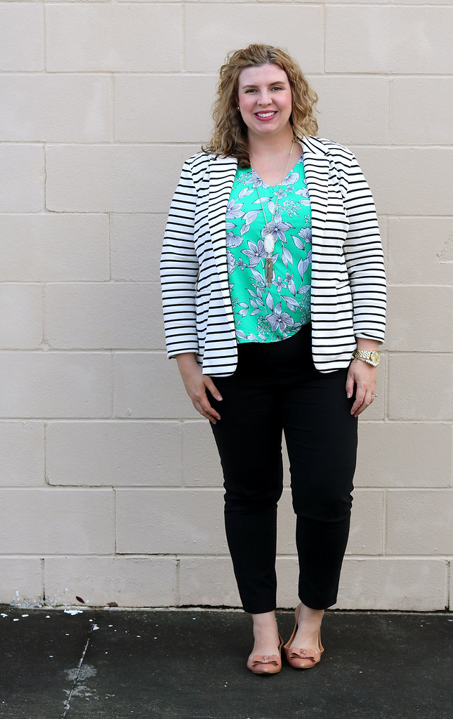 black and white stripe blazer, green floral shell, black pencil pants, bow flats 1