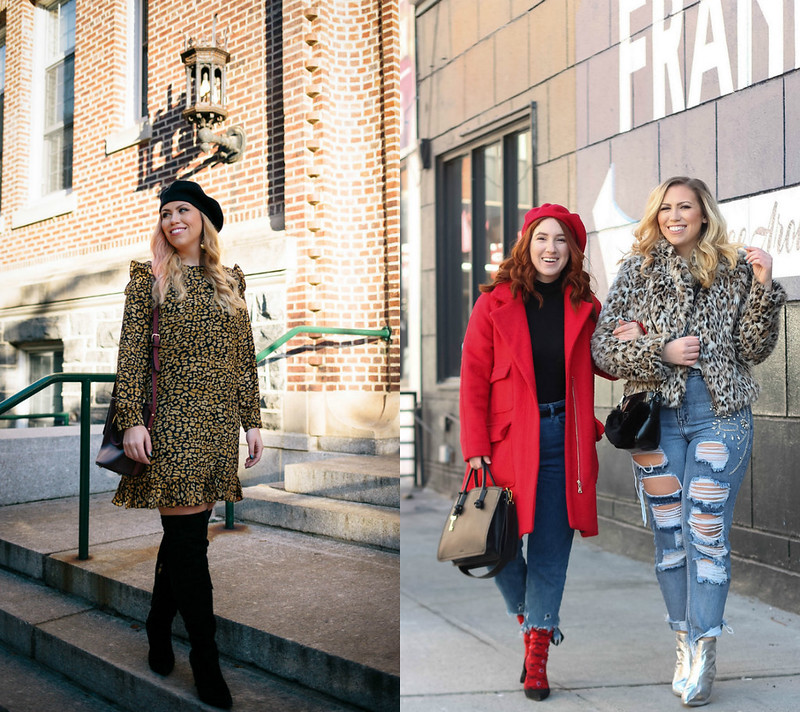 January Outfit Ideas Leopard Dress Leopard Coat Red Coat Winter Style