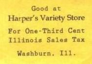 Harper's Variety Store sale tax token