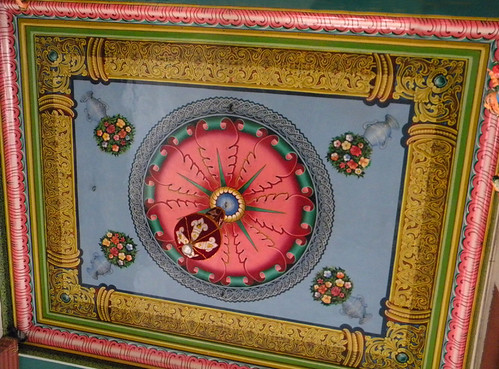 Brightly-painted ceiling in a Hindu temple in Singapore