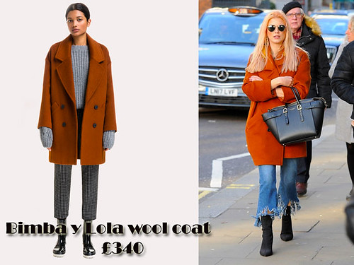 orange-Bimba-y-Lola-wool-coat, bright coloured oversized wool coat,  coloured oversized wool coat, oversized wool coat, frayed jeans, frayed cropped jeans, patented black boots, sunglasses