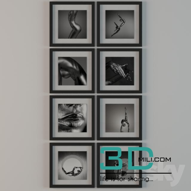 wall photo frame 3d model free download