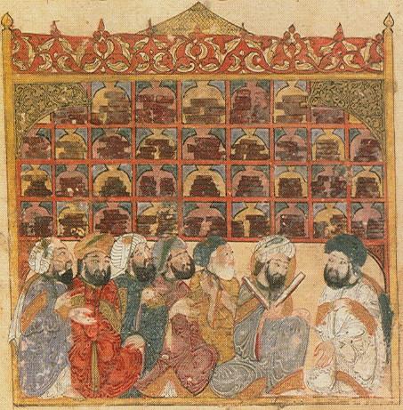 Manuscript depicting scholars in Baghdad, by Yahyá al-Wasiti