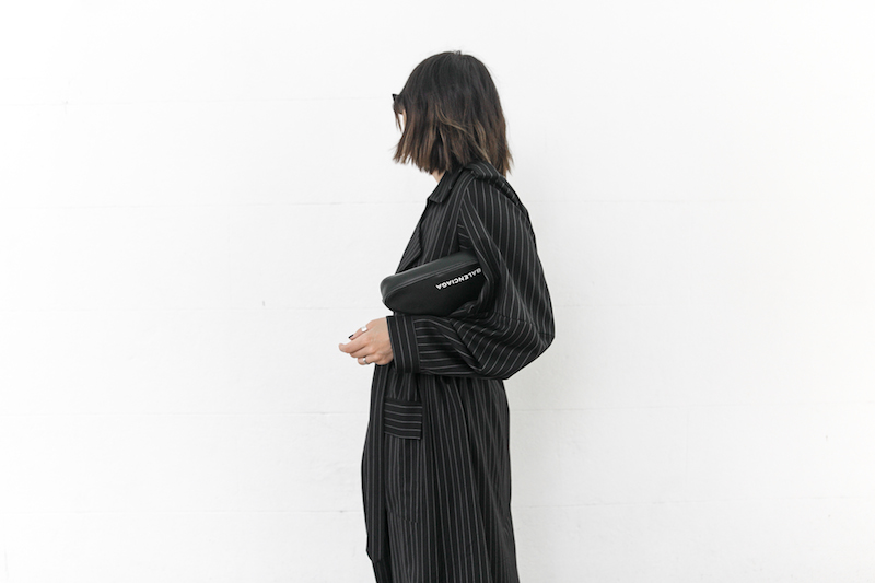 minimal street style fashion blogger striped trench coat vintage denim Balenciaga knife mules triangle clutch Instagram (9 of 11)