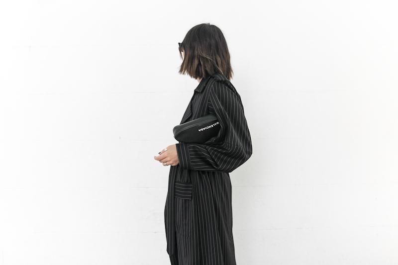 minimal street style fashion blogger striped trench coat vintage denim Balenciaga knife mules triangle clutch Instagram (9 of 11)