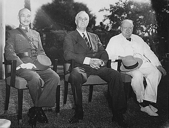 Franklin D. Roosevelt, Chiang Kai-shek, and Winston Churchill at the Cairo Conference, November 25, 1943.