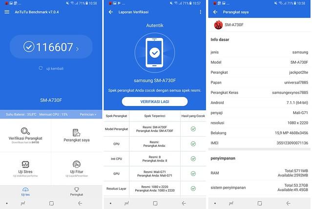 Hasil uji bencahmark dengan aplikasi pengujian AnTuTu Benchmark (Liputan6.com/ Agustin Setyo W)