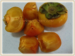 Fruits of Diospyros kaki (Asian Persimmon, Japanese Persimmon, Oriental Persimmon, Buah Pisang Kaki in Malay), Nov 27 2017