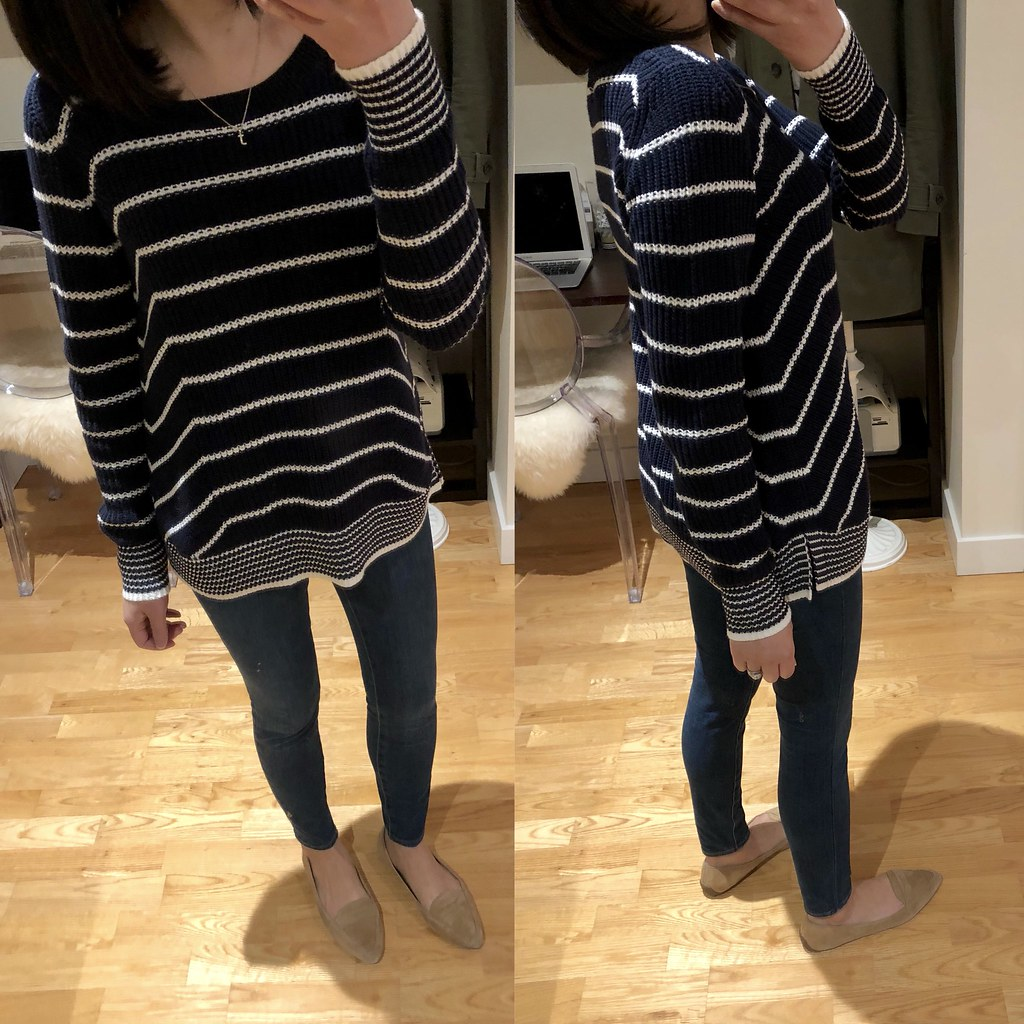 LOFT Stripe Mixed Rib Sweater, size XXS regular