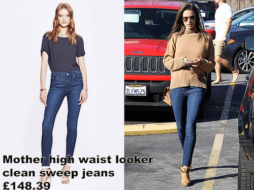 Mother-high-waist-looker-clean-sweep-jeans, Alessandra Ambrosio  in Mother high waist looker clean sweep jeans, Mother blue skinny jeans, brown suede ankle boots, tan ankle boots, suede ankle boots, ankle boots, brown handbag-