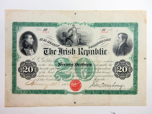 Lot 768 Irish Republic 1866, $20 Issued Bond Rarity