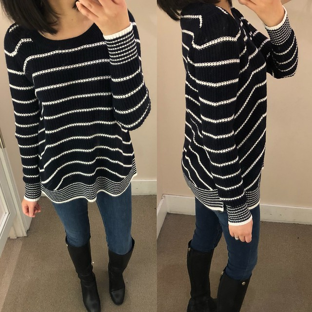 LOFT Stripe Mixed Rib Sweater, size XS regular