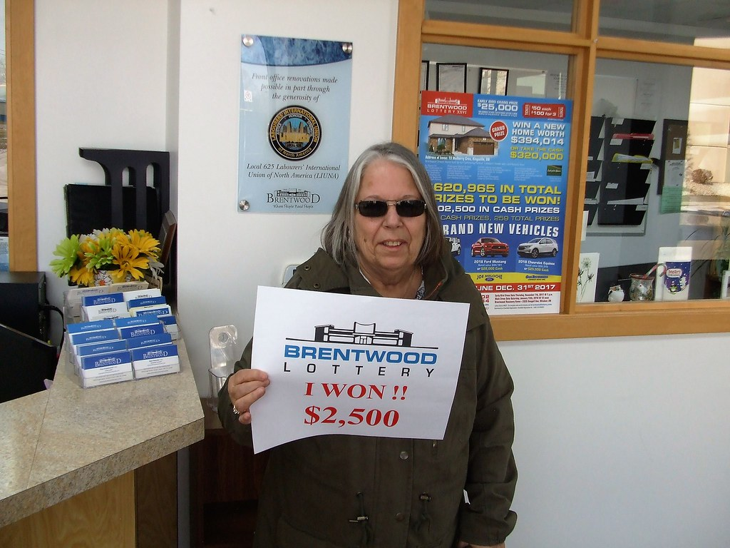 Patricia Reiss won $2,500 in the Brentwood Lottery XXVI Main Draw