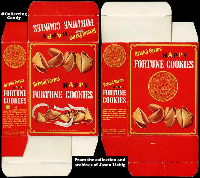 Sue Ann Food Products - Bristol Farms - Happy Fortune Cookies - 3 1/2 oz product package box - 1960's.