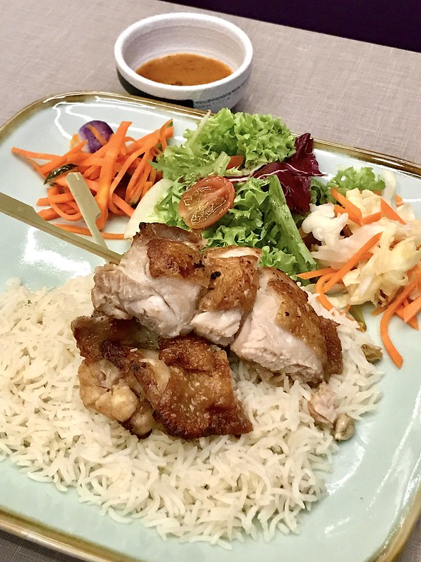 Roasted Chicken skewers with basmati rice