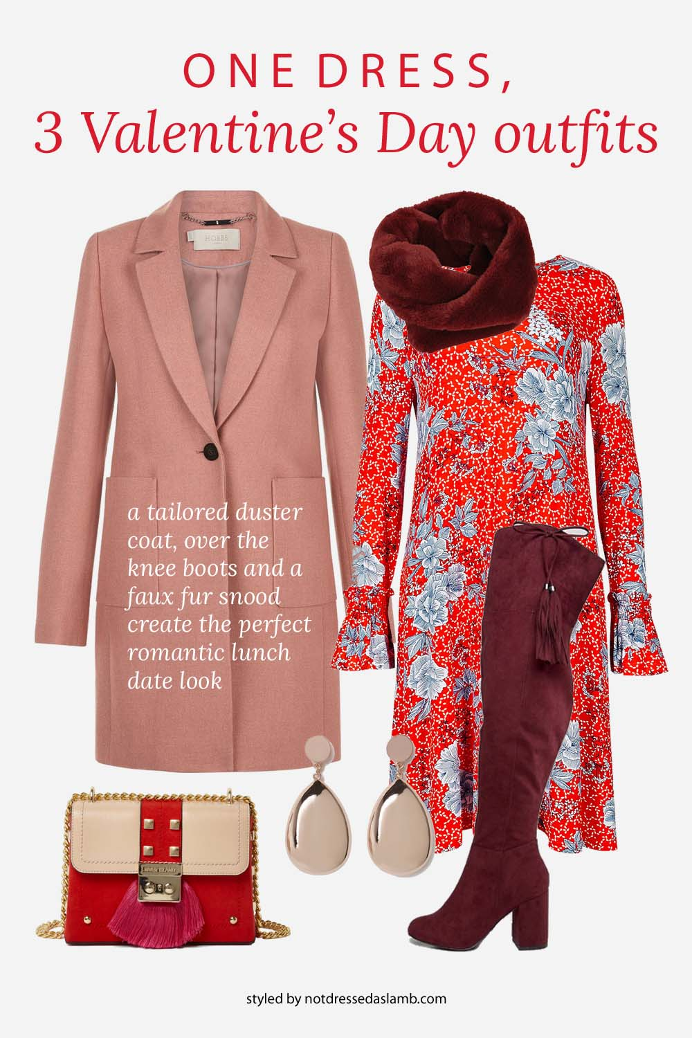 3 Ways to Style One Red Floral Dress for Valentine's Day | Smart lunchtime date look, with a tailored duster coat, over the knee boots and a faux fur snood