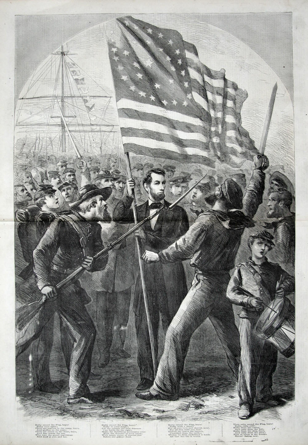 Abraham Lincoln depicted in an engraving made soon after the start of the Civil War, with the lyrics to the poem,