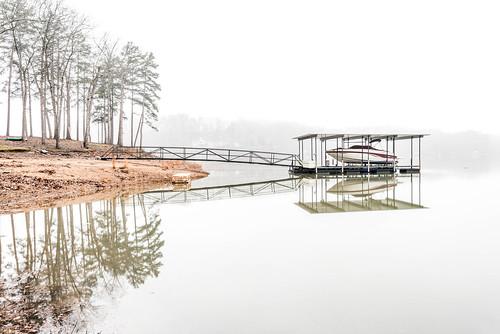 southcarolina sc lake fog water reflection