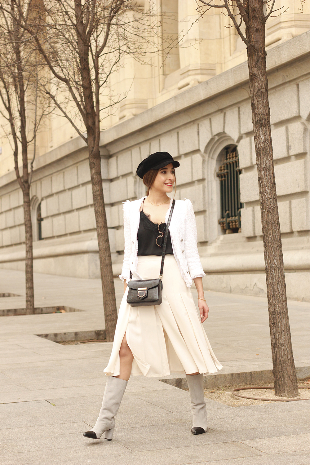 midi blush skirt white tweed jacket givenchy bicolor uterqüe boots winter outfit05