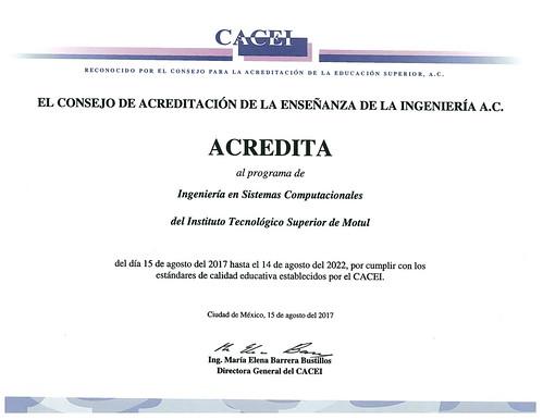 Acreditación por el CACEI al programa educativo de Ingeniería en Sistemas Computacionales