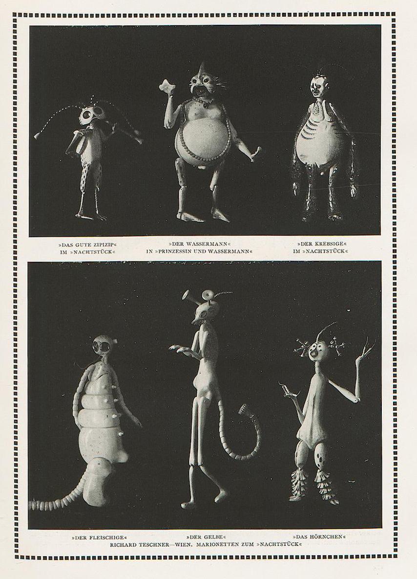 """Richard Teschner - Puppets from """"Nachtstück,"""" 1913"""