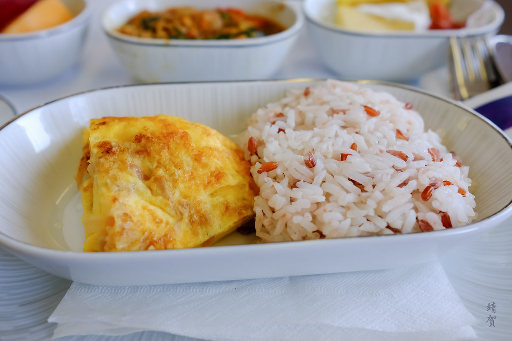 Steamed duo of Thai Hom Mali rice with Thai Omelet