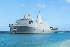 USS San Diego (LPD 22) arrives at Naval Base Guam, Jan. 9. (U.S. Navy/MCSN Daniel Pastor)